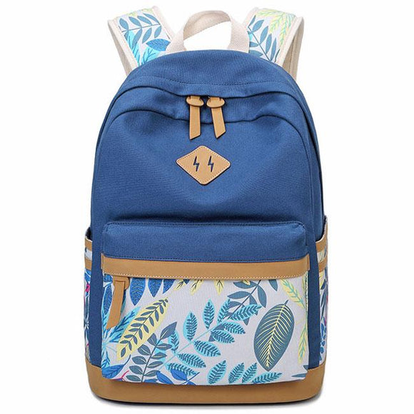 Fresh Leaves Patterns Printing Designed College Bag Leisure Travel Canvas School Backpack For Big Sale!- Fowish.com