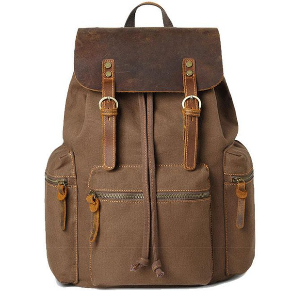 Retro Thick Canvas Three Pockets School Bag Travel Real Leather Large Backpack For Big Sale!- Fowish.com