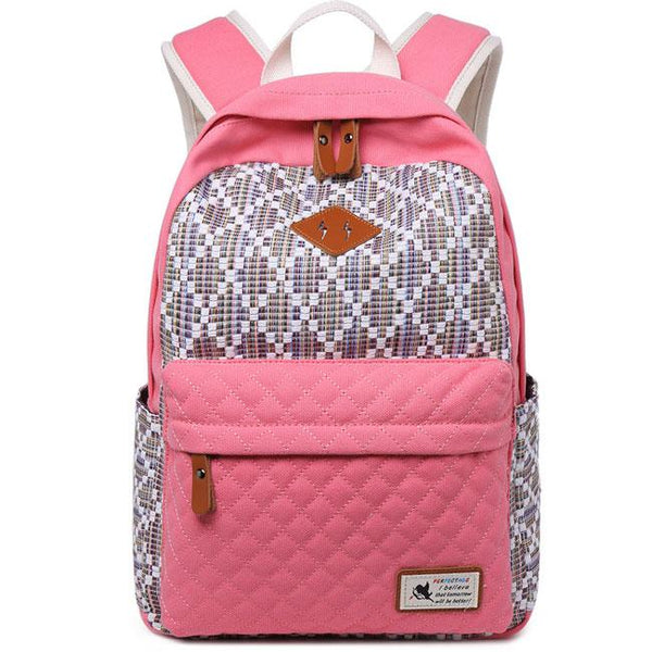 Fresh Girl's Contrast Color Rhombus Student School Rucksack Lattice Thick Canvas Backpack For Big Sale!- Fowish.com