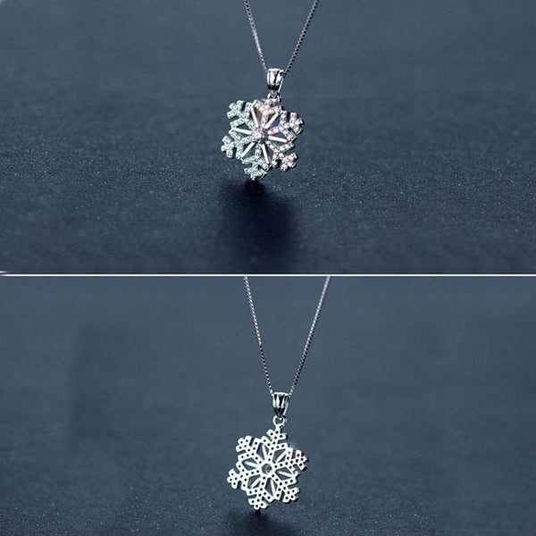 Cute Clavicle Chain Necklace Diamond-studded Snowflake Pendant Silver Winter Style Cool Fashion Necklace For Big Sale!- Fowish.com