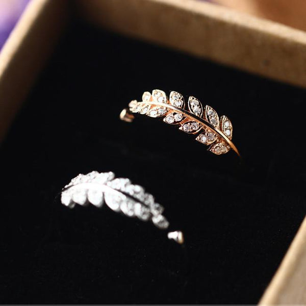Cute Diamond-bordered Silver Feather Pure Leaves Shape Open Ring For Big Sale!- Fowish.com