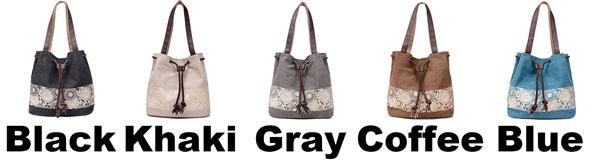 Retro Flowers Printing Draw String Shoulder Bag  Girl's Canvas National Style Shopping Handbag For Big Sale!- Fowish.com