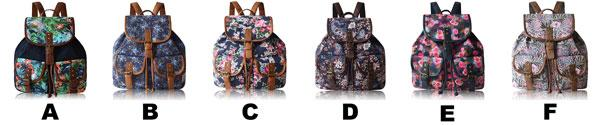 Folk Splicing PU Belts Draw String Flap Girl's Canvas Backpack Colorful Flowers Printing Backpack For Big Sale!- Fowish.com