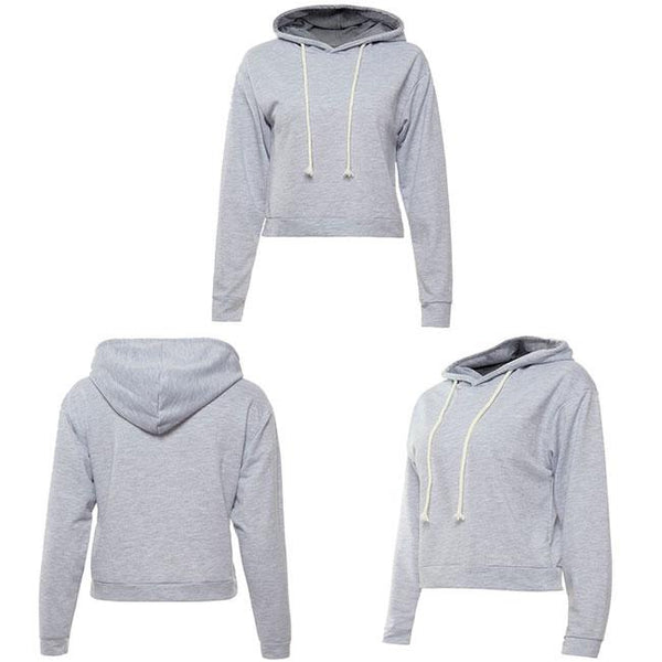 New Women's Sexy Crop Top Whole Color Hoodie Pullover Autumn Short Sweater For Big Sale!- Fowish.com
