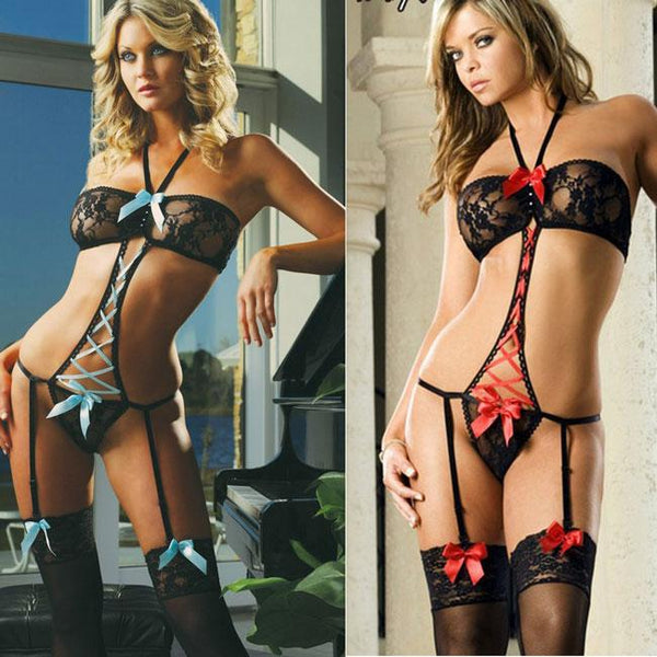 Sexy Crystal Cross Strap Bow Halter Lace Mesh One-piece Backless Women's Lace See Through Bikini Lingerie For Big Sale!- Fowish.com