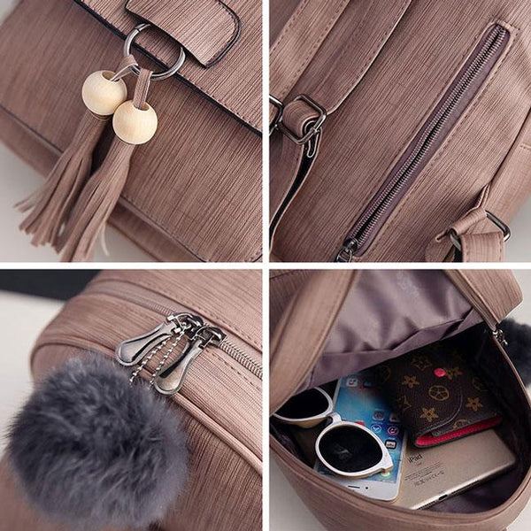 Retro Girl's Tassels Pendant School Bag PU College Backpacks For Big Sale!- Fowish.com