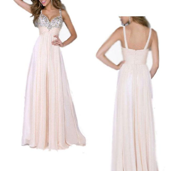 Elegant Girl's Sequins Sparkly Maxi Prom Dress Ruffles Chiffon Braces Evening Dresses For Big Sale!- Fowish.com