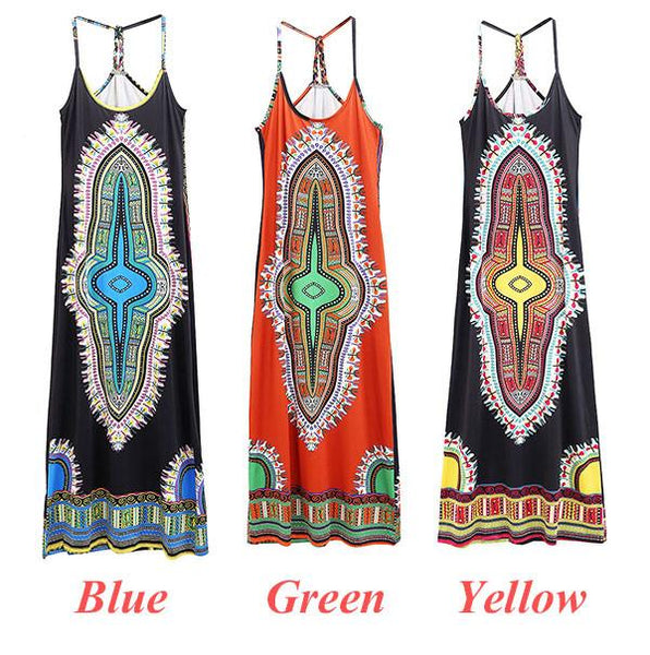 Women's Sleeveless Pattern Pringting Strapless Slim Dress For Big Sale!- Fowish.com