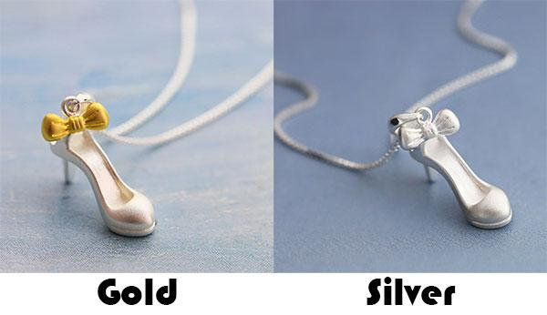 Fashion Silver High-heeled Shoe Bow Frosted Cute Clavicle Women Chain Necklace For Big Sale!- Fowish.com