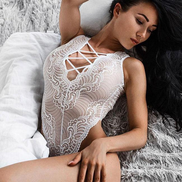 Sexy Women's White Lace Mesh Hollowed-out Embroidery Front And Back Crossover Straps Jumpsuits Lingerie For Big Sale!- Fowish.com