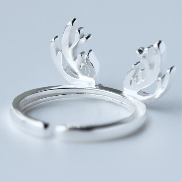Cute Solid Deer Horn Silver Pure Plain Hollow Open Ring For Big Sale!- Fowish.com