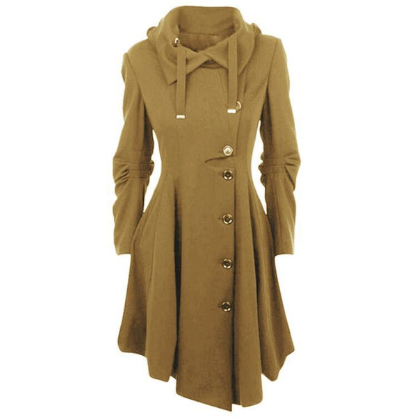 Unique Warm Irregular Hem Double Sided Woolen Long Sleeve Women Coat