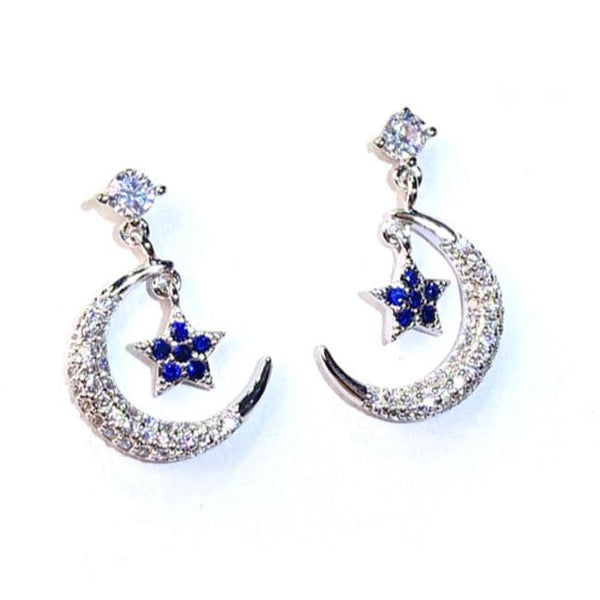 Fashion Women's Ear Clips Stars Moon Sterling Silver Earrings Studs For Big Sale!- Fowish.com