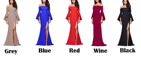 Elegant Women's Long A-Line Dresses Sexy Slit Ruffle Sleeve Party Dress For Big Sale!- Fowish.com
