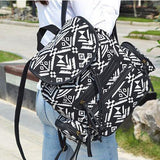 Unique Design Geometric Totem Colorful Flowers School Bag Folk Drawstring Canvas PU Flap Backpack For Big Sale!- Fowish.com