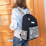 Retro Stripes Flowers Student Bag Large Travel Striped Canvas School Backpack For Big Sale!- Fowish.com