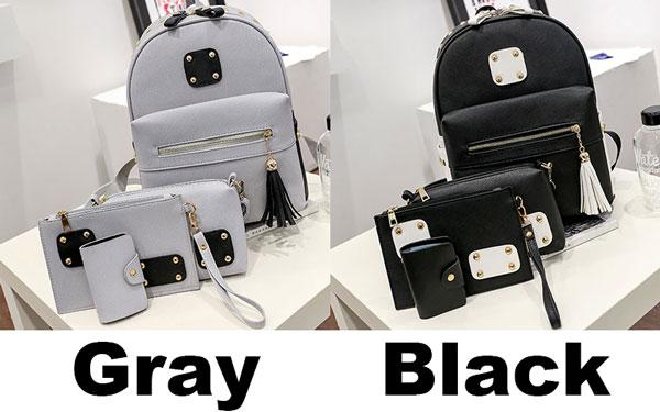 New PU Rivets Patch Black Gray Tassel Large School Backpack For Big Sale!- Fowish.com