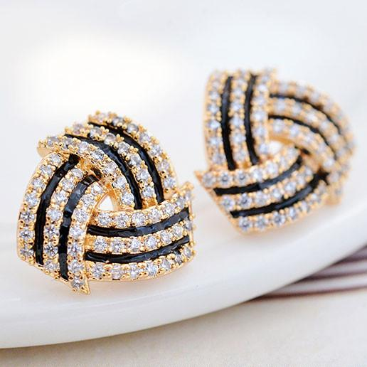 Fashion Diamond-bordered Stratified Geometric Pattern Spiral Silver Women Earring Studs For Big Sale!- Fowish.com
