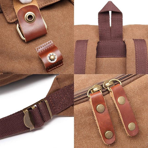 Retro Travel Rucksack Splicing Leather Belts School Laptop Men's Canvas Large Capacity Outdoor Backpack For Big Sale!- Fowish.com