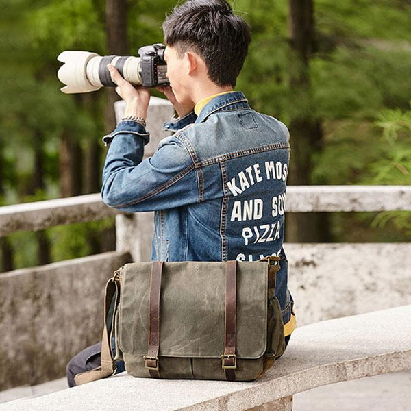 Retro Waterproof Outdoor Camera Bag Men's Large Canvas Shoulder Bag For Big Sale!- Fowish.com