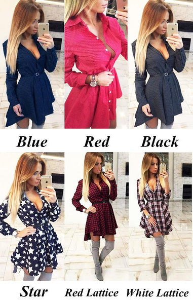 New Wave Point Shirt Dress Checkered Shirt Dress Long-sleeved Swallowtail Dress For Big Sale!- Fowish.com