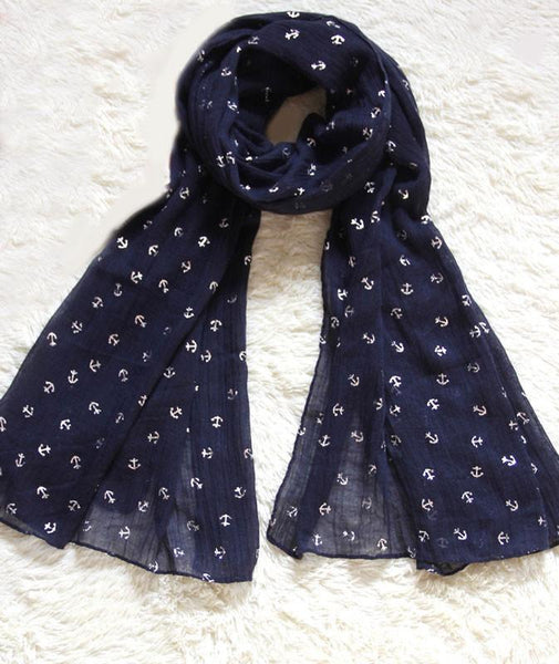 Latest Navy Blue Little Anchors Infinity Scarf - lilyby