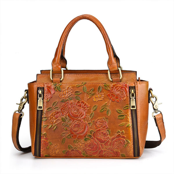 Retro 3D Flower Handbag Leather Vintage Double Zippers Shoulder Bag