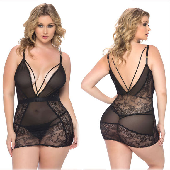 Sexy Mesh Gauze Nightdress Large Size Lace Hollow Sling  Women Intimate Lingerie