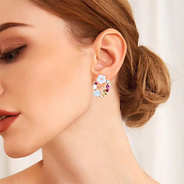 Fashion Pearl Crystal Bow Wreath Earring Studs Flower Earrings