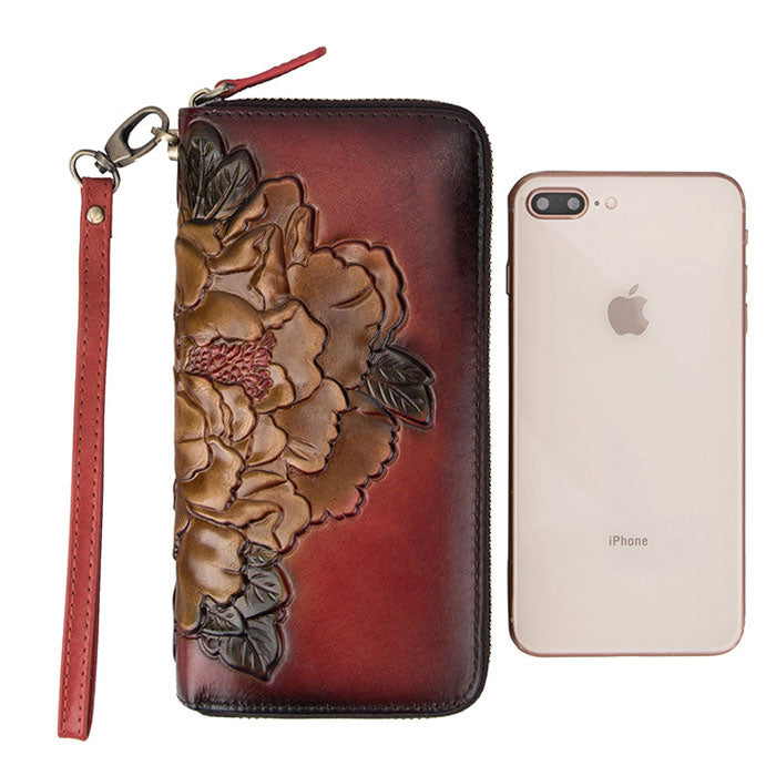 Retro Embossed Flower Long Wallet Phone Purse 3D Large Peony Clutch Bag