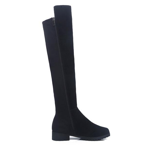 Cool Side Zipper Frosted Leather High Boots - lilyby