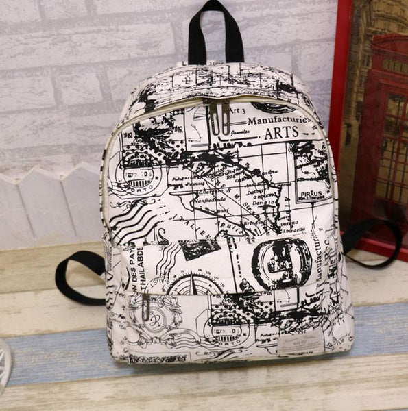 Fashion Canvas Graffiti Map Casual Backpack &Schoolbag For Big Sale!- Fowish.com