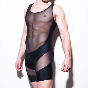 Sexy Fit Transparent Breathable Perspective Mesh Man Slim Conjoined Men's Lingerie