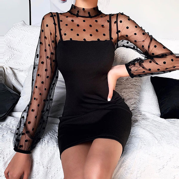 Sexy Stitching Long-Sleeved Dress Black Polka Dot Mesh Formal Dress