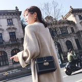 Elegant Chain Square Lady Single Button Shoulder Bag Messenger Bag