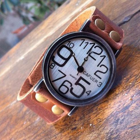 Retro Irregular Digital Funny Leather Watch - lilyby
