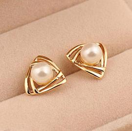 Cute Triangle Pearl Earring Studs - lilyby