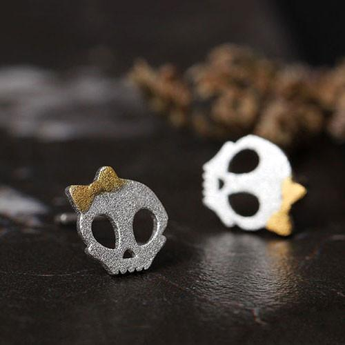 Lovely Dark Princess Punk Bowdot Skull Silver Earring Studs For Big Sale!- Fowish.com