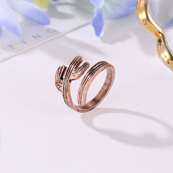 Vintage Alloy Cactus Tree Open Women Rings