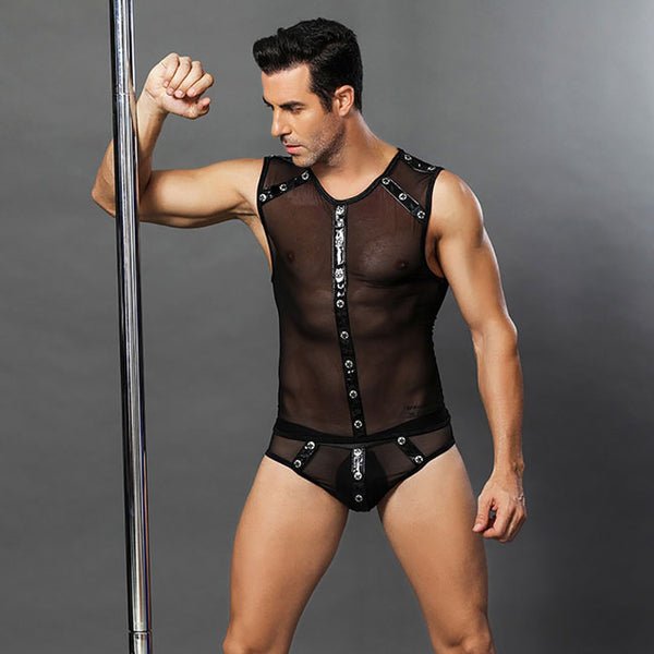 Sexy Rivet Uniform Temptation Perspective Bar Performance Clothing Man Conjoined Lingerie