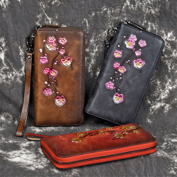 Retro Plum Long Wallet Phone Purse Frosted Embossed Flower Clutch Bag