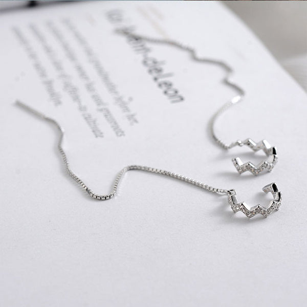 Fashion Silver Women Drop Diamond Long Line Earring Clip