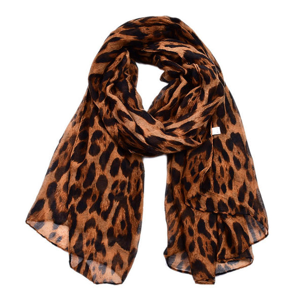 Fashion Thin Cotton Voile Scarf Leopard Multi-Color Women Scarves