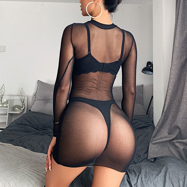 Sexy Mesh Nightdress Long Sleeve Perspective Dress Black Thin  Intimate Lingerie