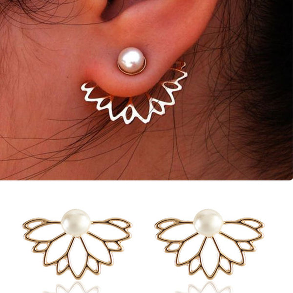 Lovely Pearl Lotus Ear Studs Girl's Earring Studs