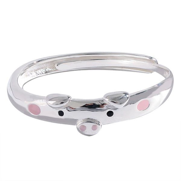 Cute Pink Pig Lover Gift Open Funny Animal Silver Ring
