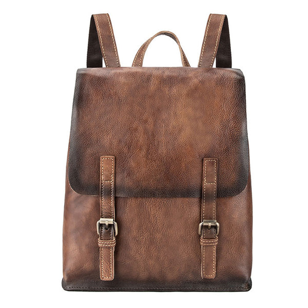 Retro Handmade Cowhide Travel Backpack Leather Double Buckle Large Capacity Student Backpack