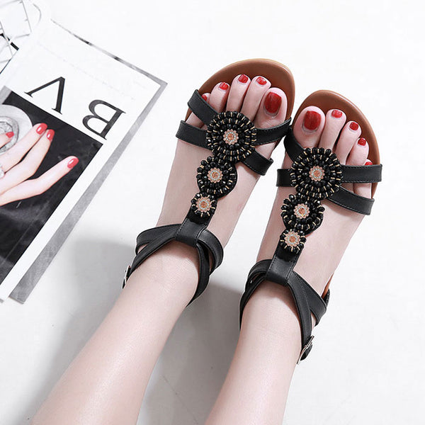 Fashion Rhinestone Flats Plus Size Summer Bohemian Beaded Shoes Roman Sandals