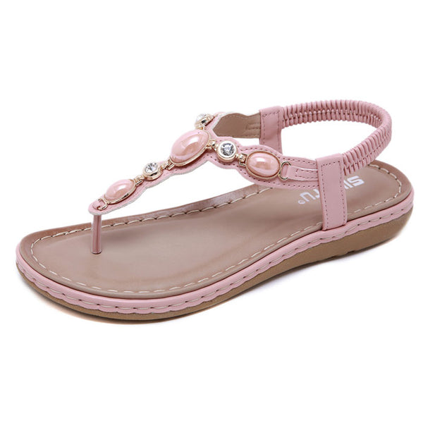 Fashion Rhinestone Retro Flat Shoes Summer Shoes Metal Buckle Beach Shoes Women's Sandals