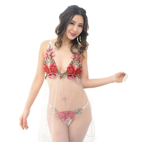 Sexy Flower Transparent Pajamas Nightdress  Rose Embroidery Bra Underwear Women's Lingerie